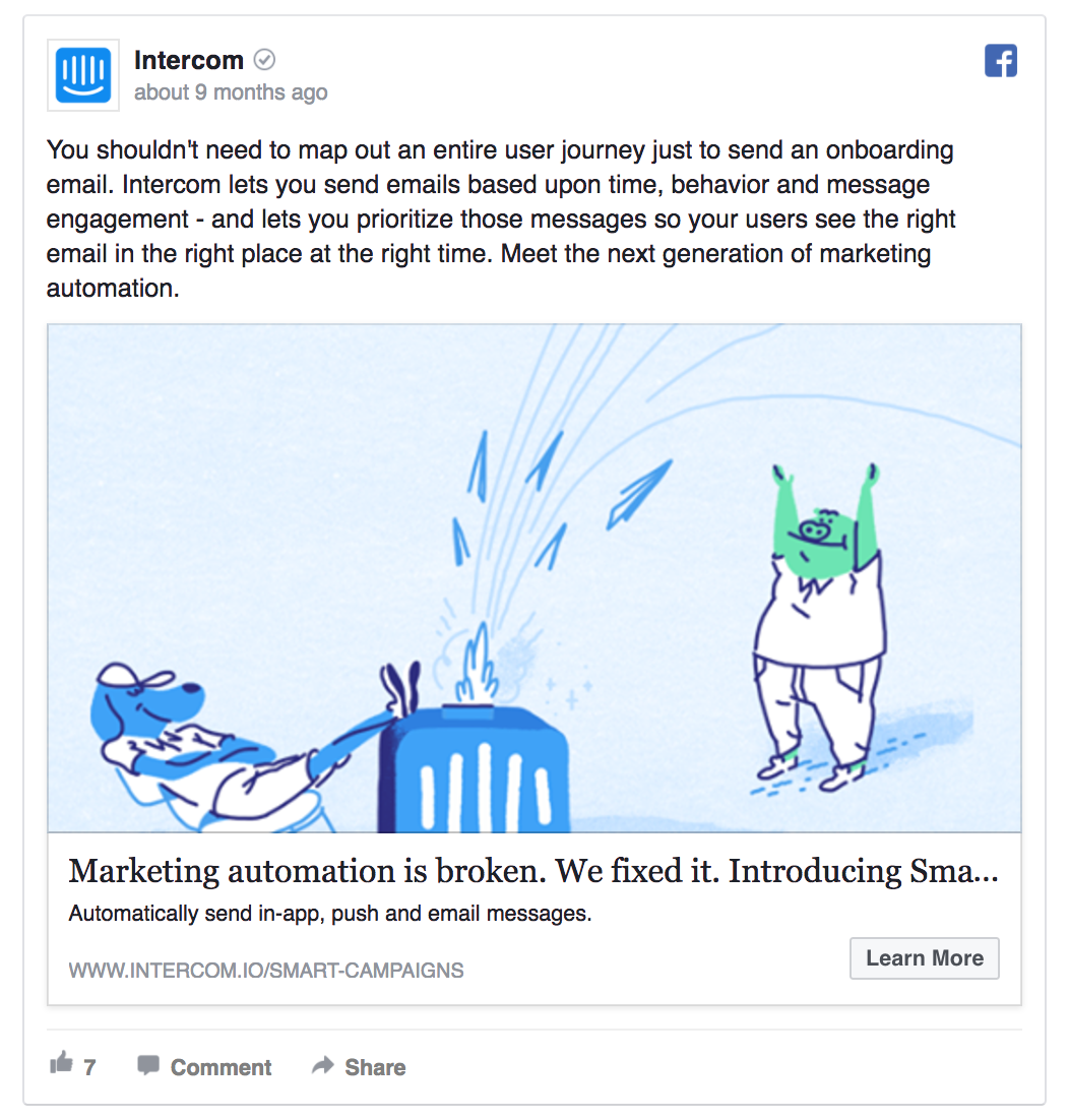 Intercom spent some time on their Facebook ad copy