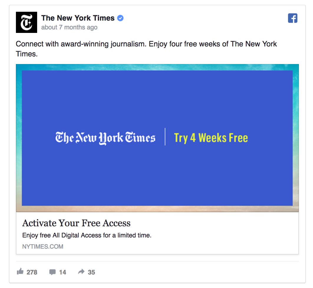 The NYT uses a limited-time free offer