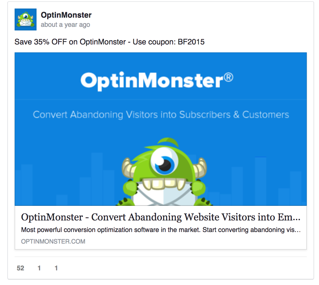 OptinMonster placed their USP in ad image
