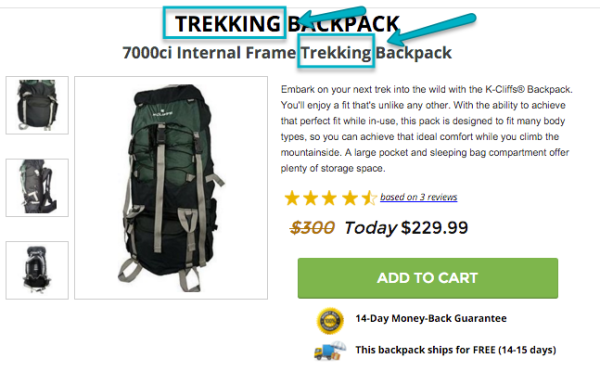 You can specify trekking backpack