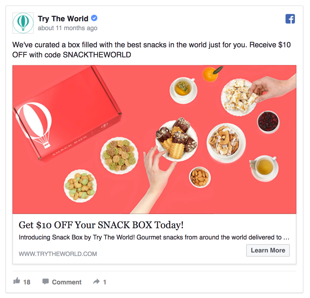 facebook ads CTR Try The World's ad excited