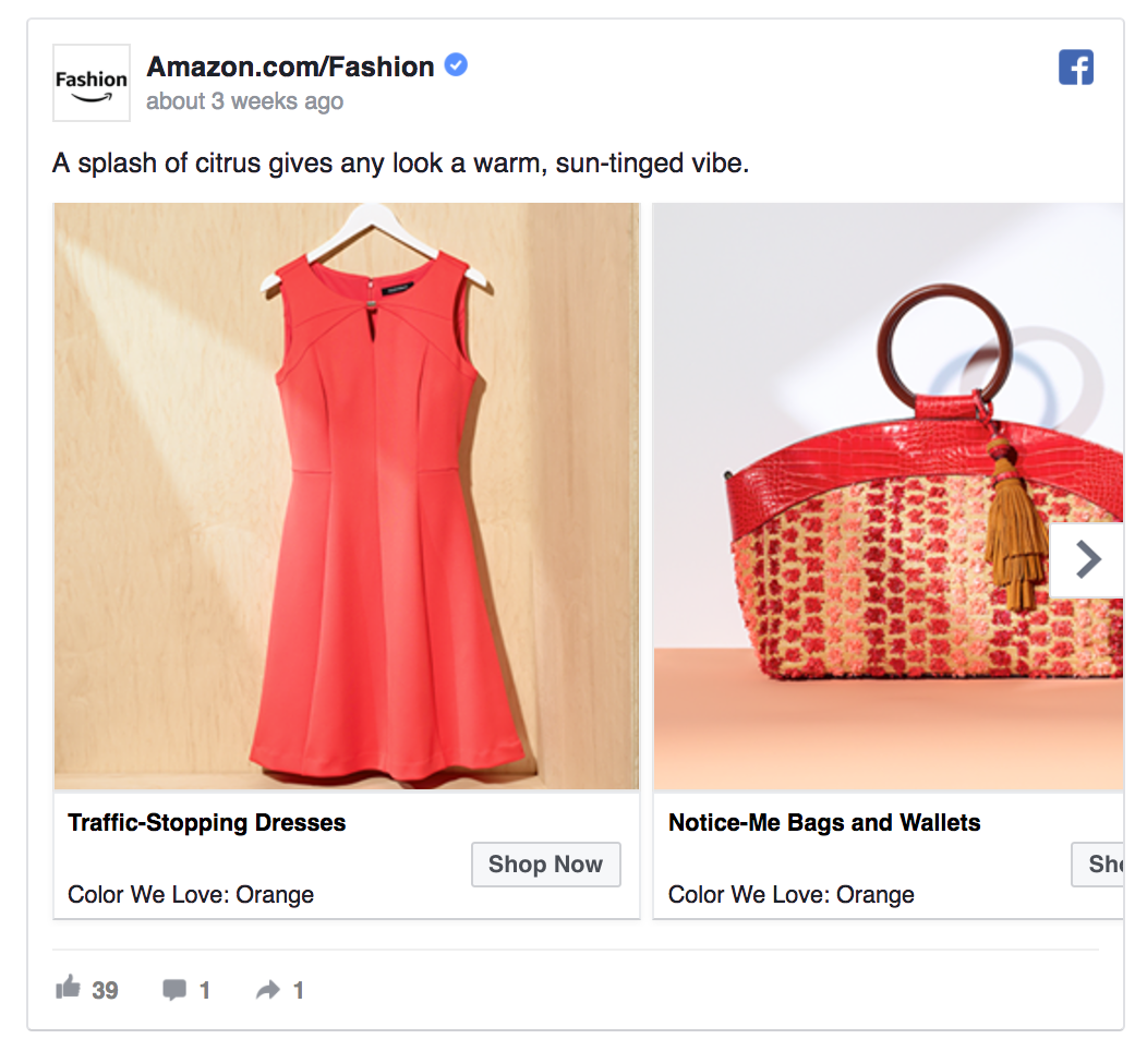 Dynamic ads can also be multi-product Facebook ads