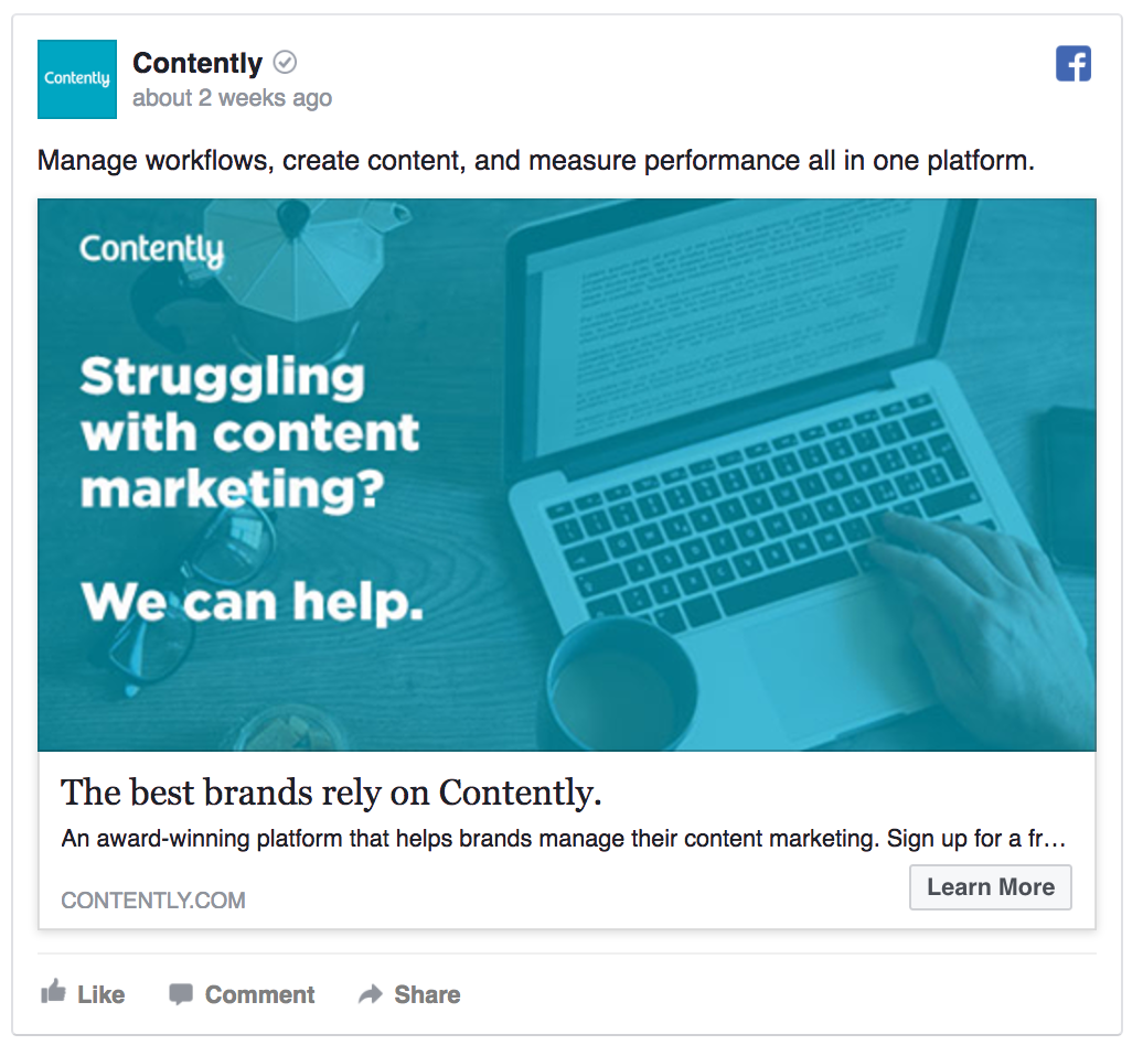 Contently's Facebook ad isn't selling anything
