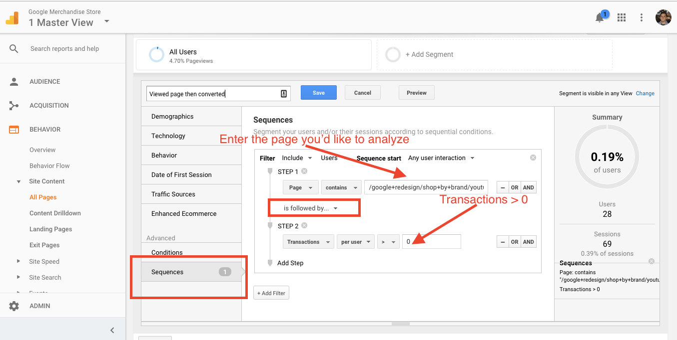 Using advanced segments, you can analyze the behavior of those who viewed content then converted