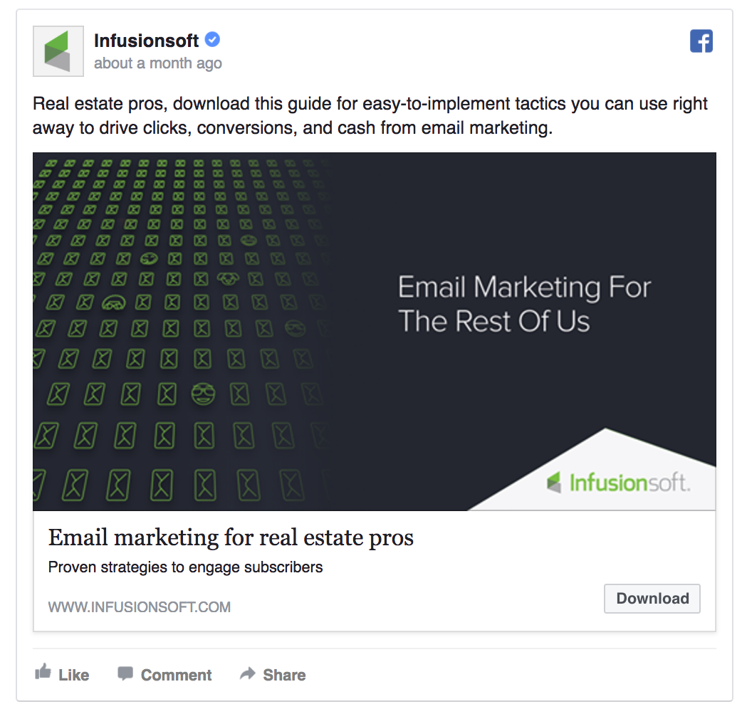 Infusionsoft's Facebook ad is highly targeted