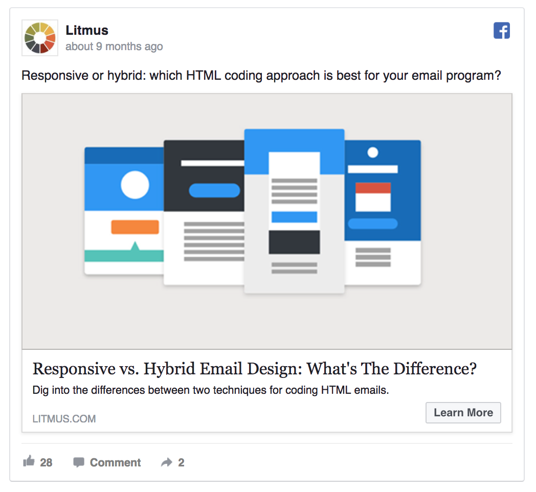 Litmus combines content marketing and Facebook ads