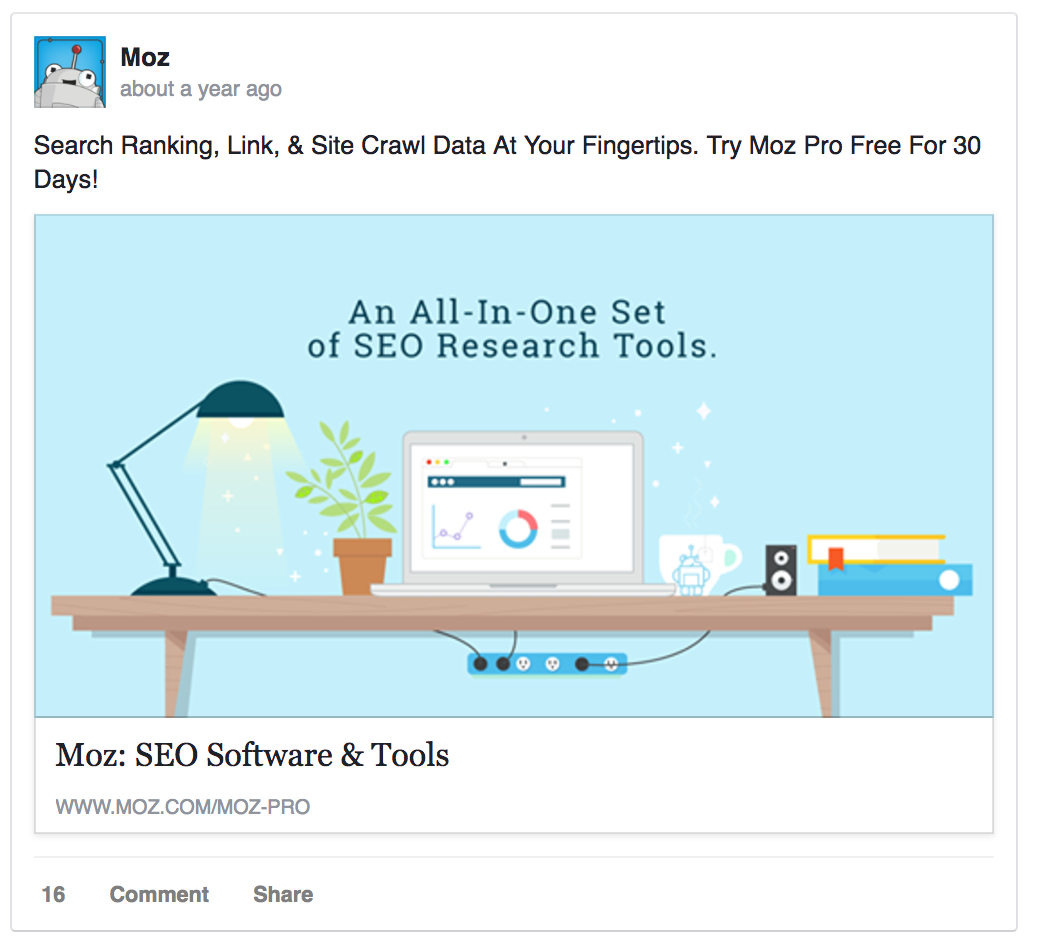 Here's a stellar Facebook ad example by Moz