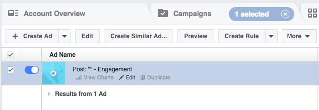 Use the Facebook Ads Manager to edit your ads