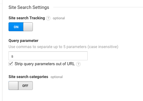 Setting up site search may be different depending on your query parameter, but it's easy to set up anyway.