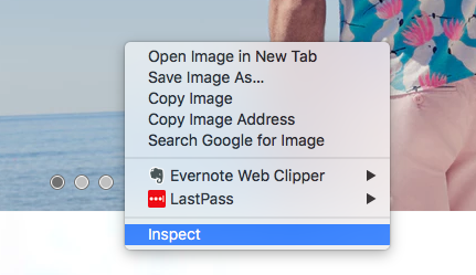Right click + click inspect to access developer tools in Chrome