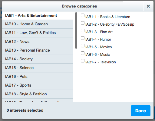 Twitter has a pretty good list of categories and subcategories.