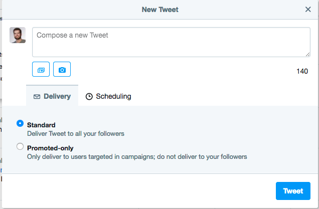 Craft a tweet from within the Twitter ads platform.