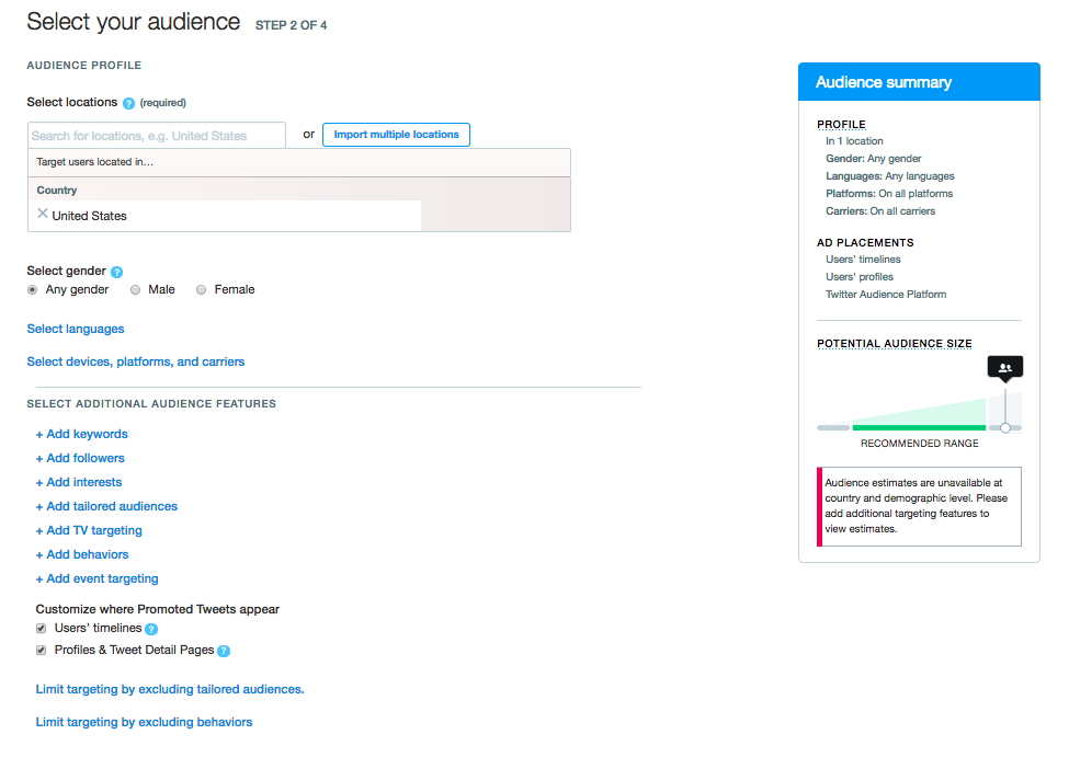 Try multi-layering targeting options for your Twitter campaign.