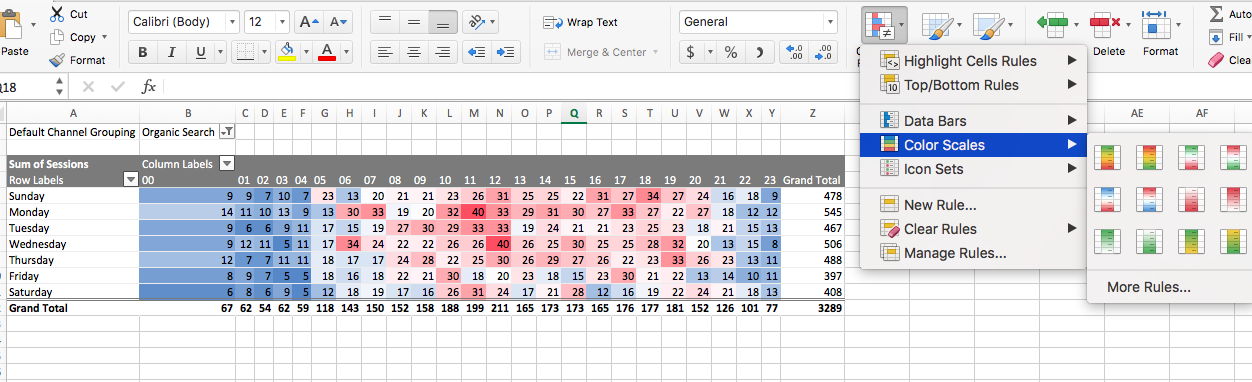 Make it pretty with conditional formatting
