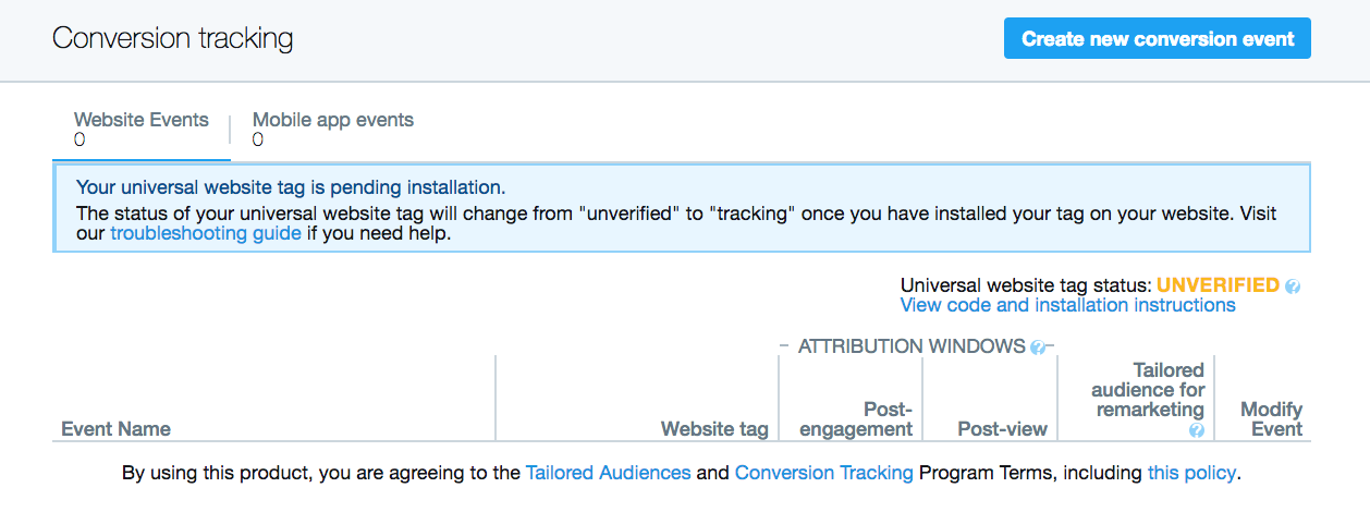 Event name, tag, post engagement, post view, tailored audience, and modify event columns will appear.