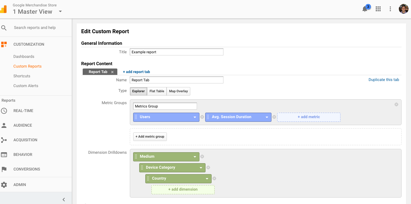 Custom Google Analytics reporting for exploring data.