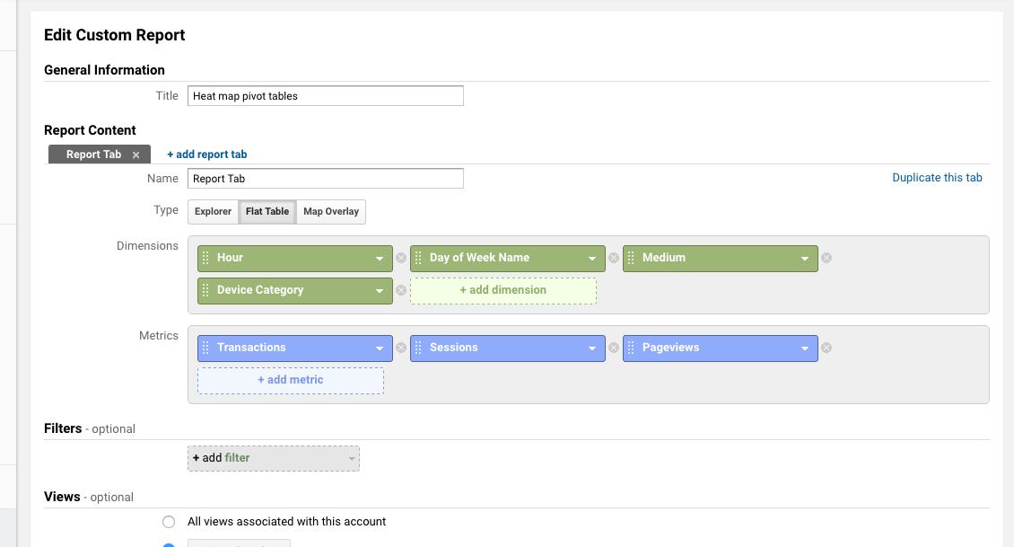Creating a custom flat table Google Analytics report.