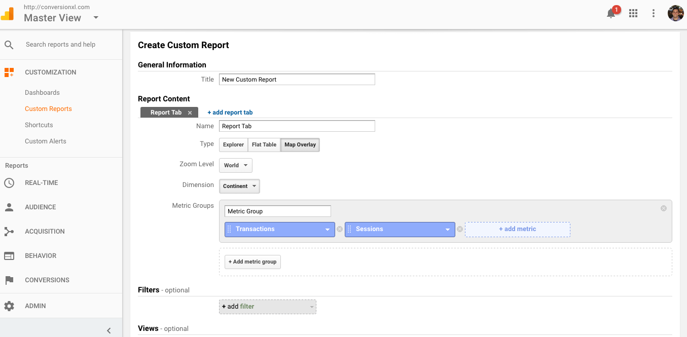 Creating a map overlay report in Google Analytics
