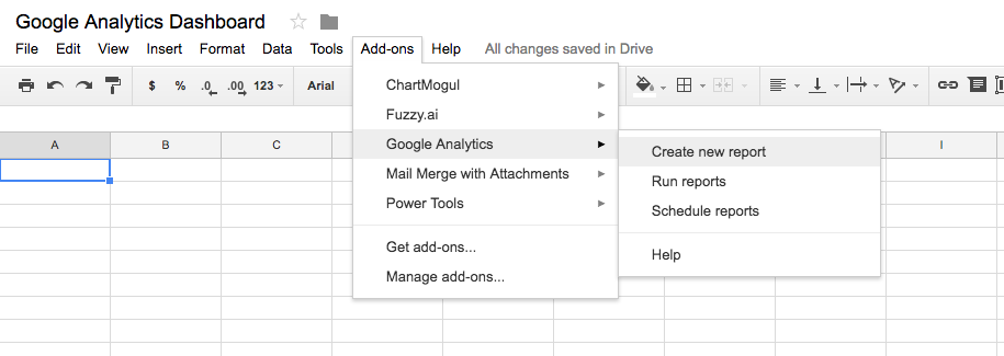 Google Analytics reporting in Google Sheets is possible with a Sheets plugin.