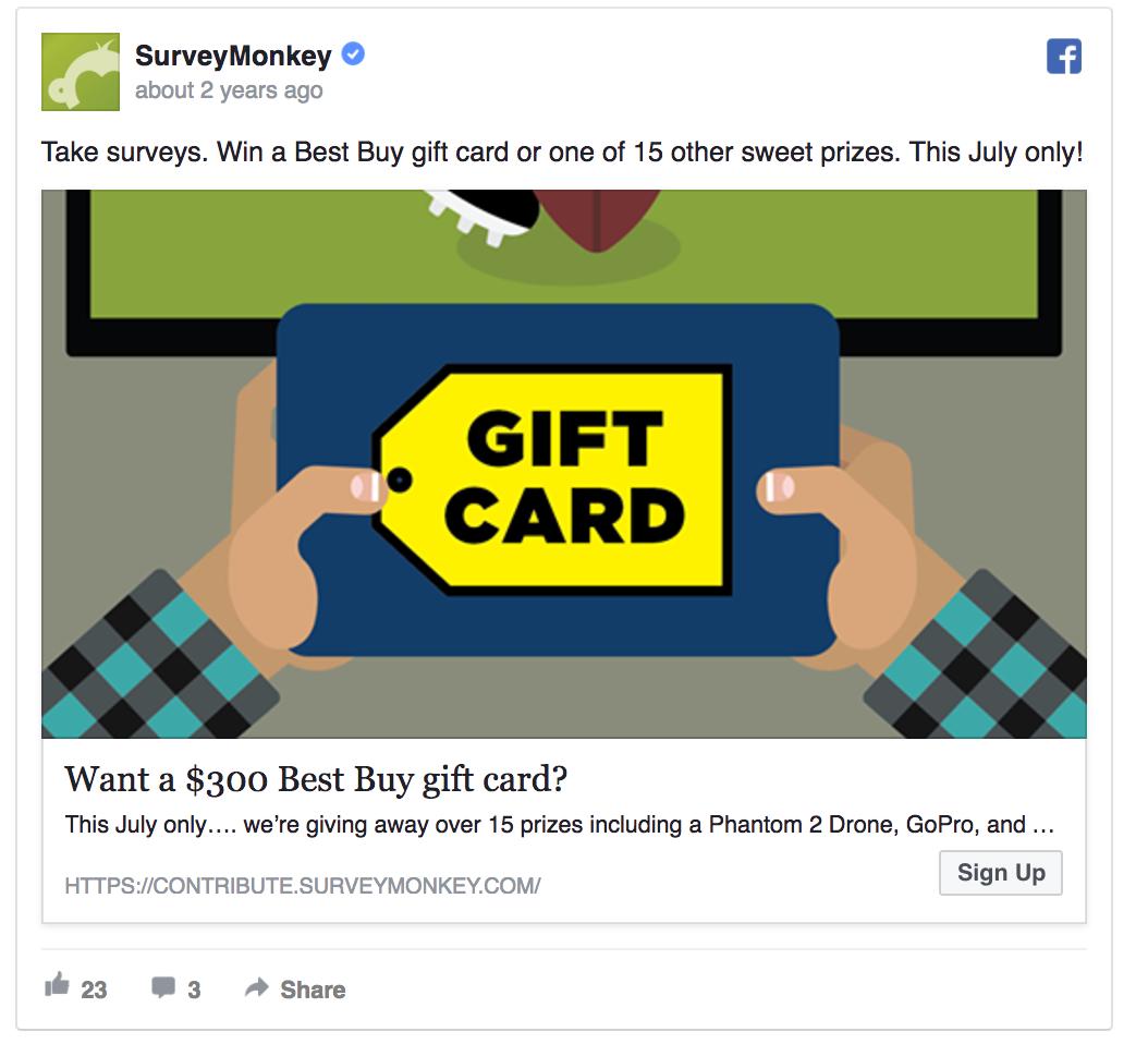 SurveyMonkey's Facebook contest