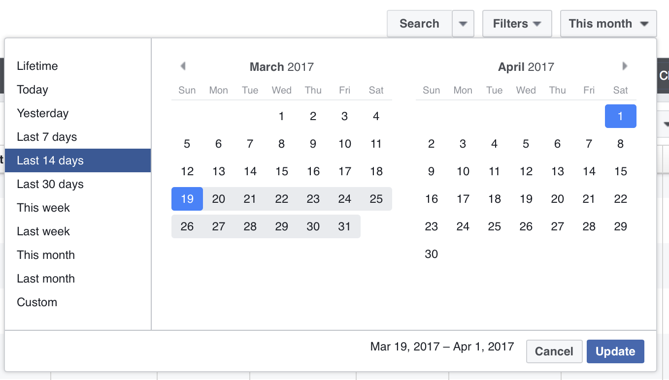 Select your report's date range