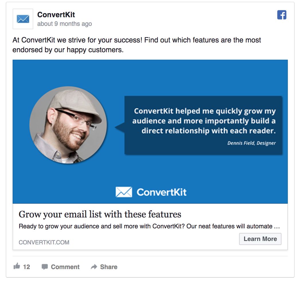 ConvertKit's Facebook ad features a testimonial