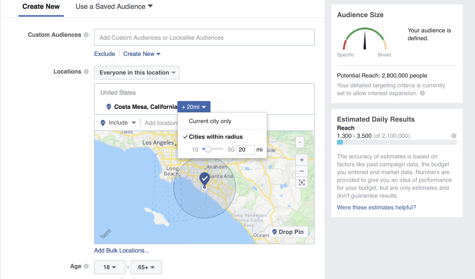 Create your Facebook target audience