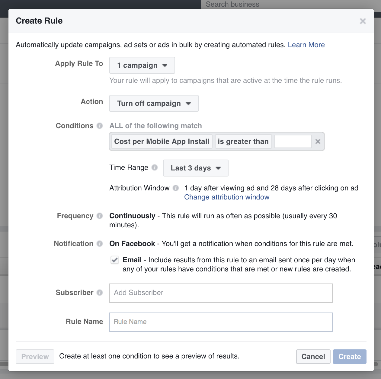 Customize your Facebook automated rules