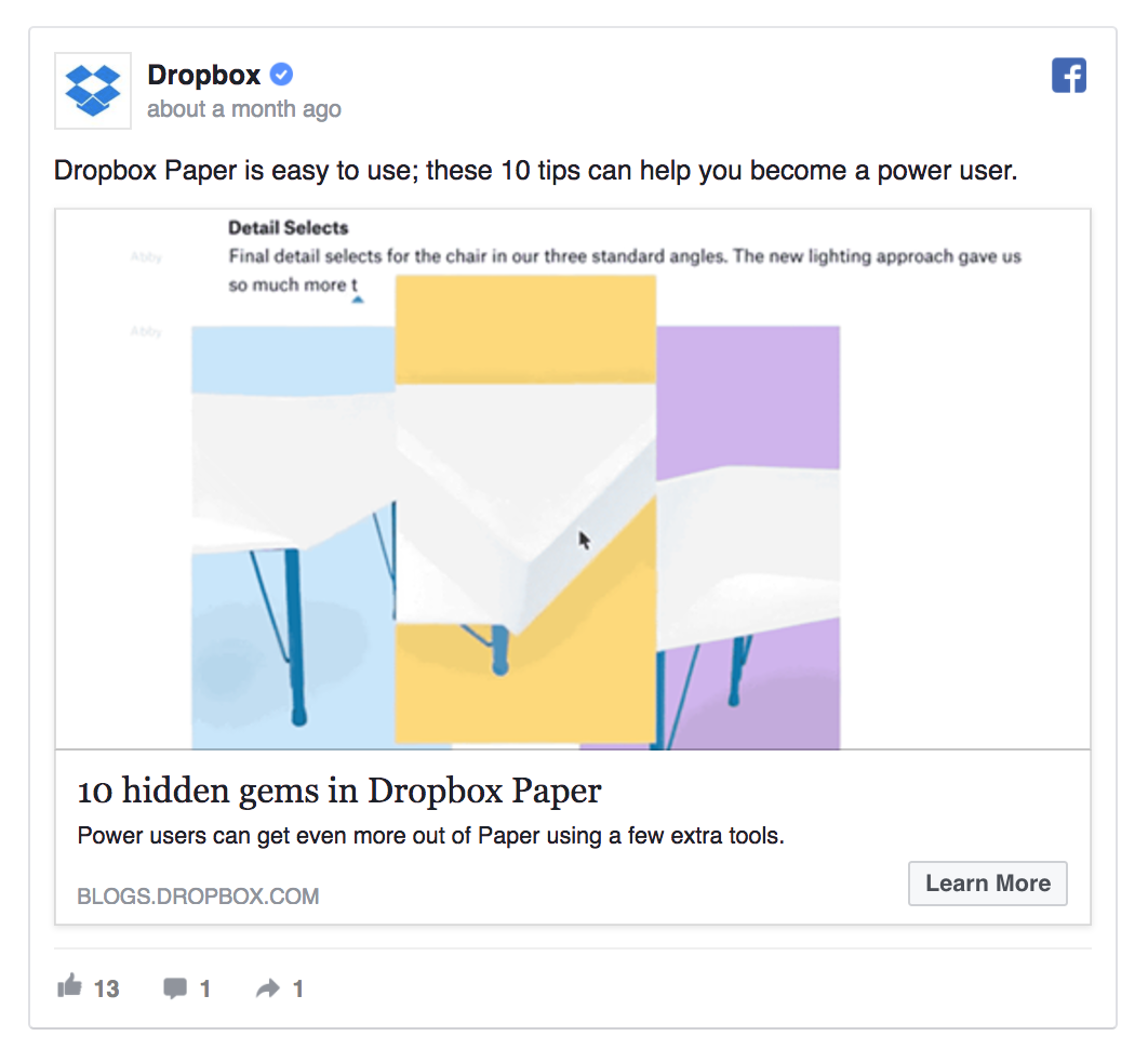 Dropbox is sharing helpful product tips.