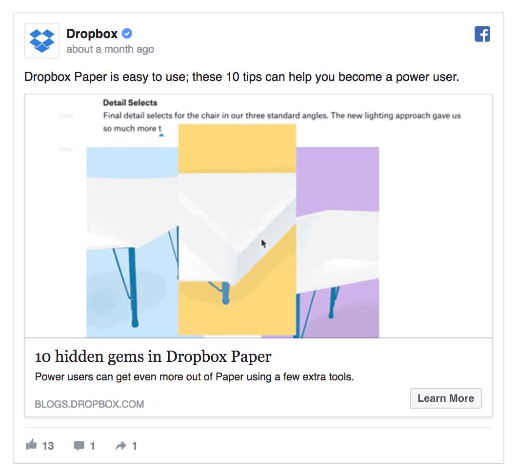 Share product tips like Dropbox