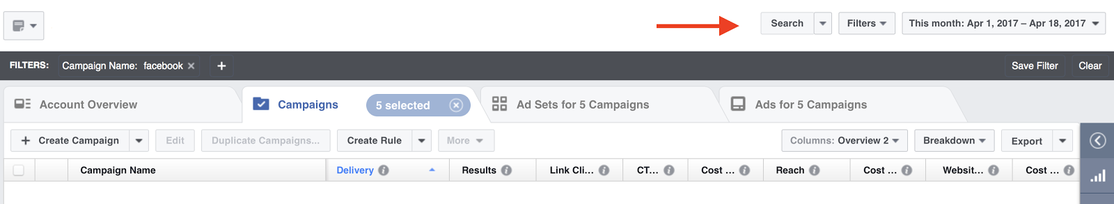 Facebook Ads Manager's search and filters