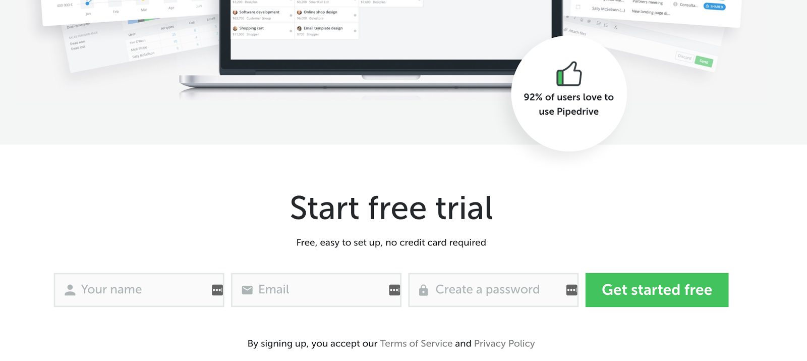 Pipedrive's landing page offers a free trial