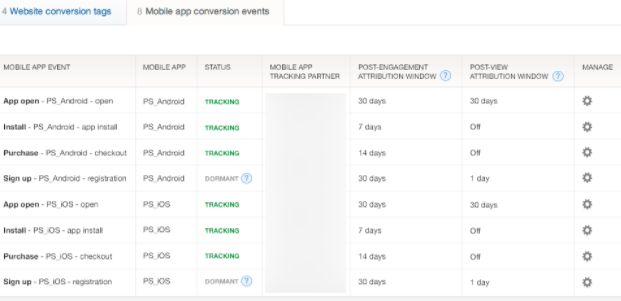 How mobile app conversion events show up after tracking setup is complete