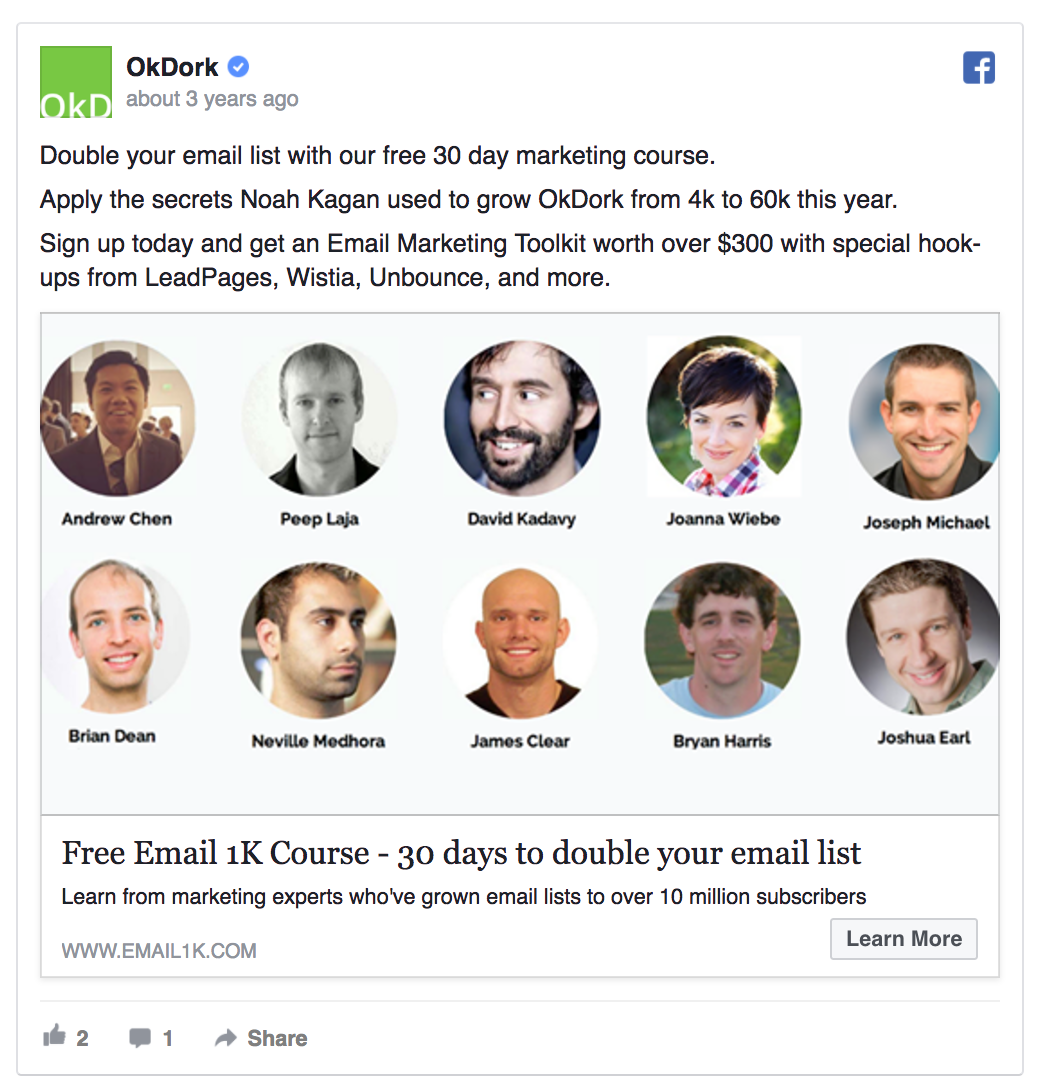 OkDork's Facebook ad offers a free course