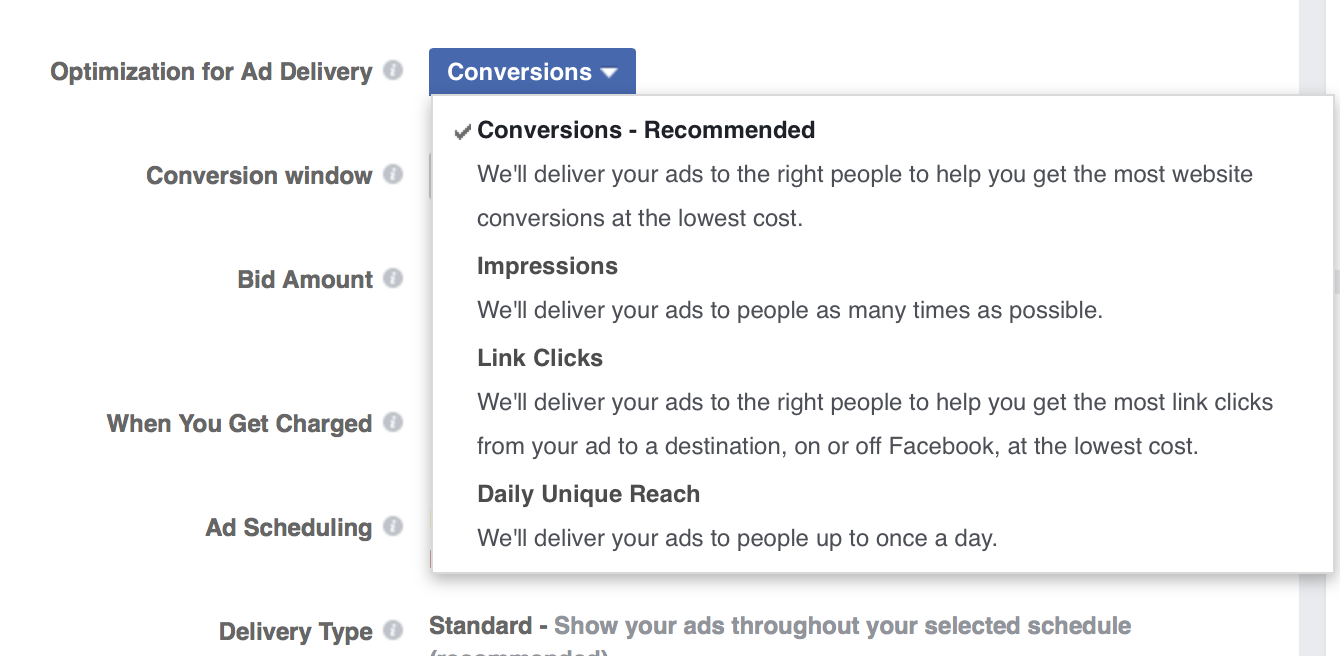 Select your Facebook ad delivery optimization