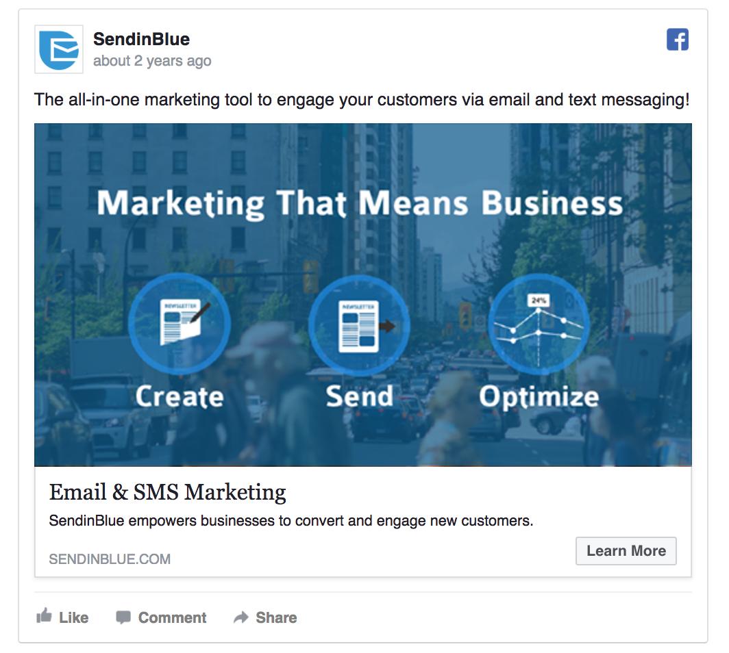 SendinBlue's ad introduces their product
