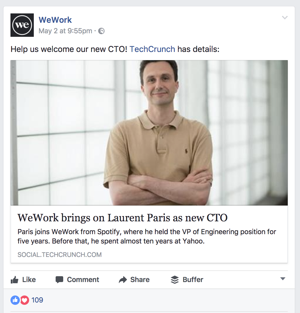 WeWork's Facebook post of a TechCruch article