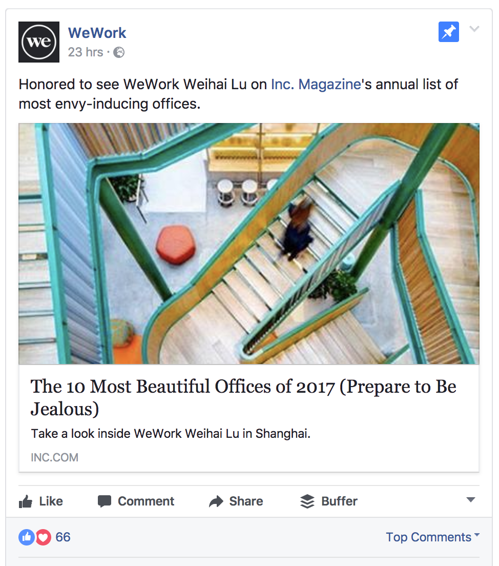 WeWork's sharing positive media mentions
