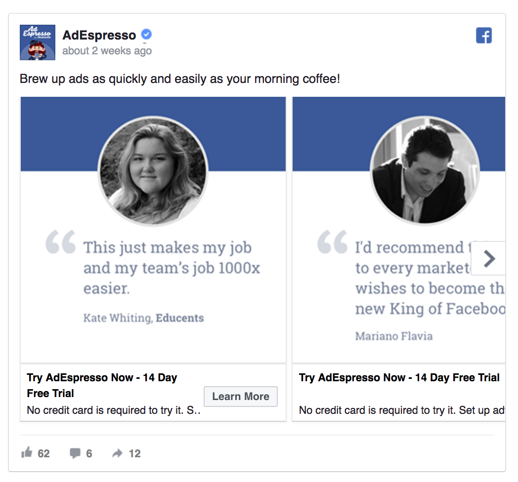 AdEspresso included testimonials in a Facebook ad.