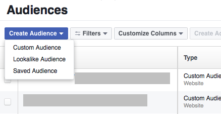 You can select between Custom, Lookalike, and Saved Facebook marketing funnel audiences.