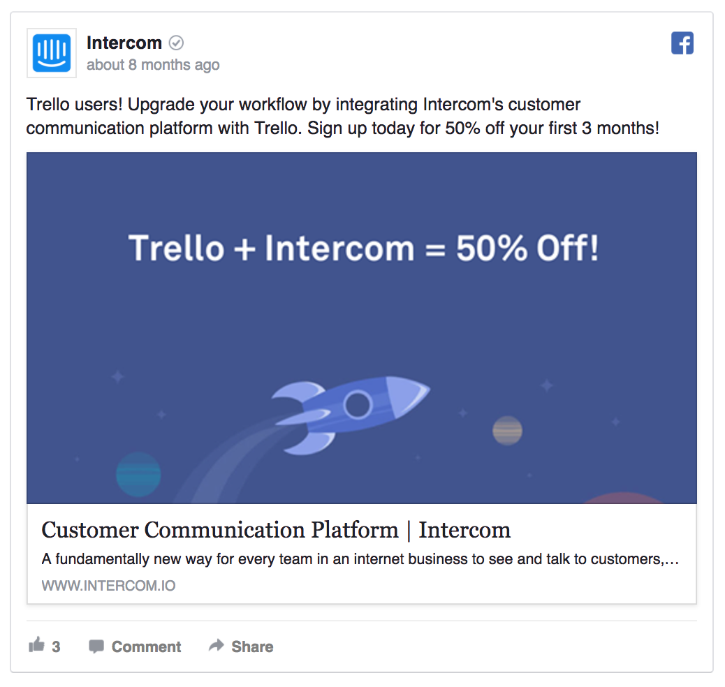 Intercom is offering a discount to its new users.