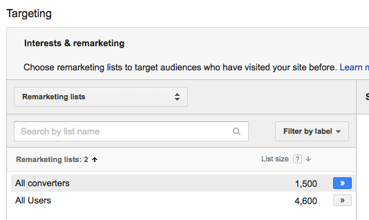 Choose your remarketing lists