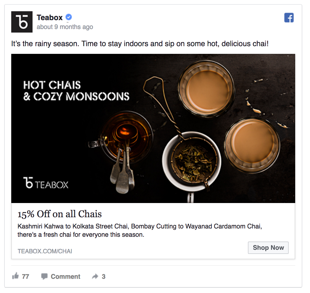 Teabox's Facebook marketing funnel includes frequent discount campaigns.