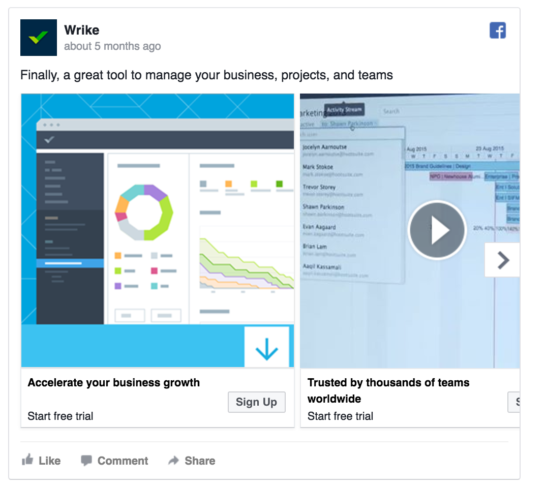 Wrike's Facebook ad includes a video.