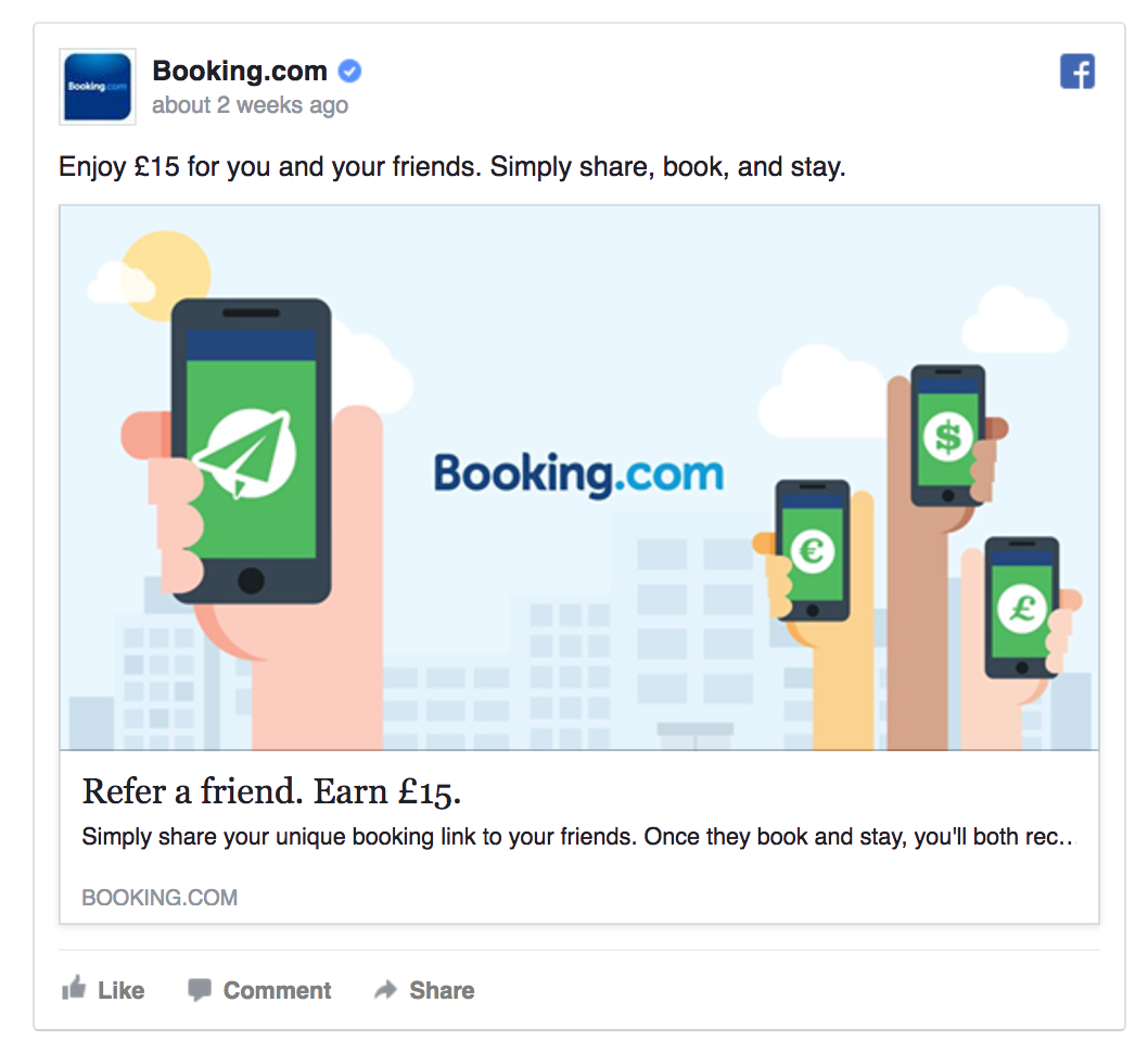 Booking.com invites people to refer a friend.