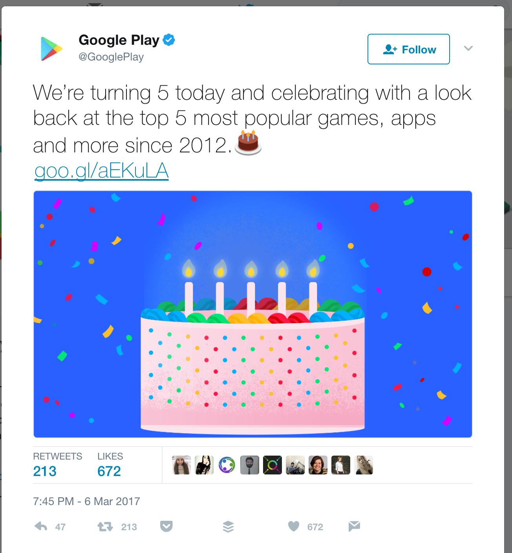 Google Play's birthday tweet