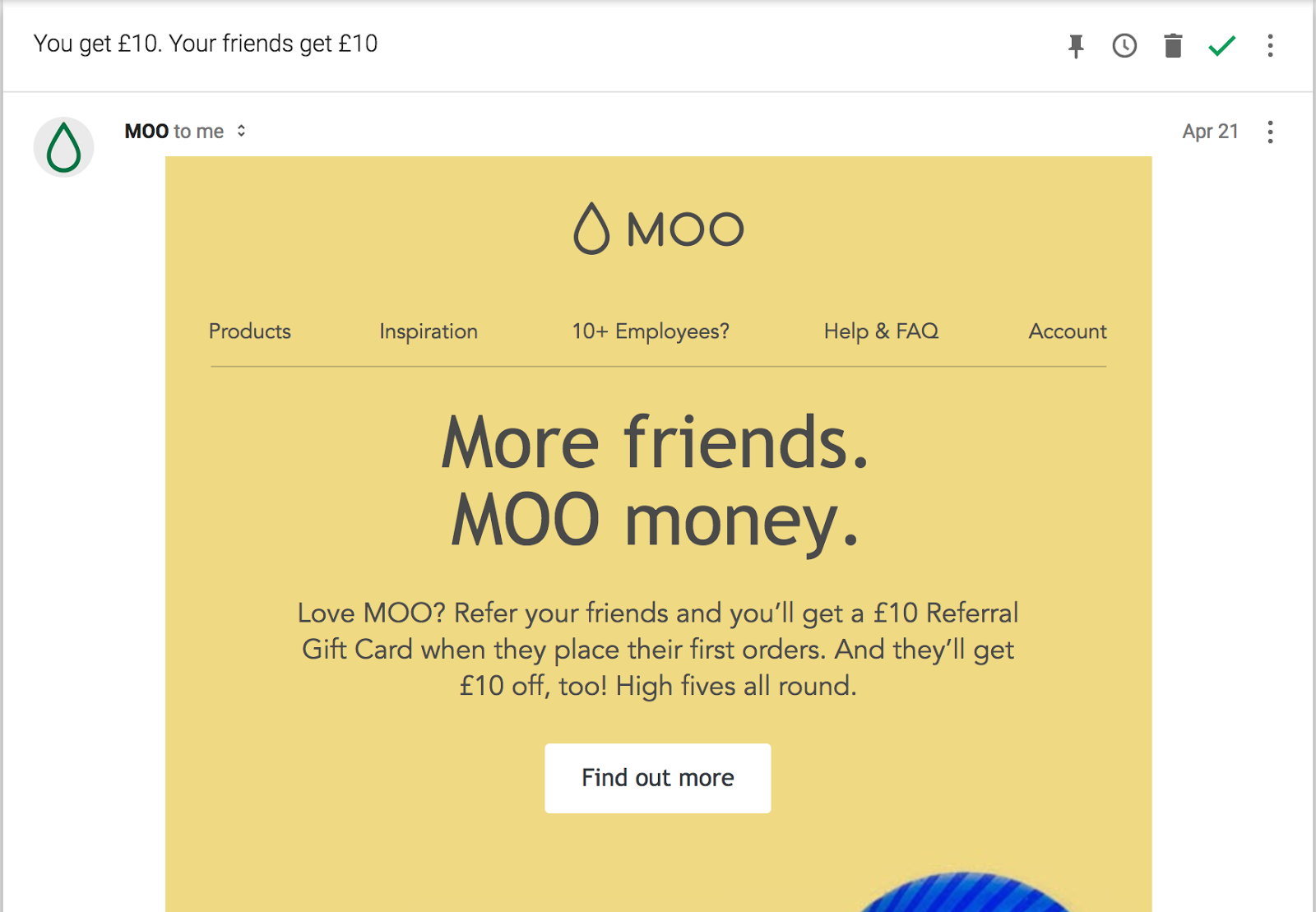 Moo offers a small incentive to get more referrals.