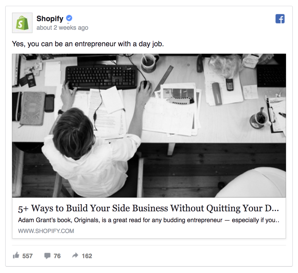 Shopify's Facebook ad is sharing helpful content.