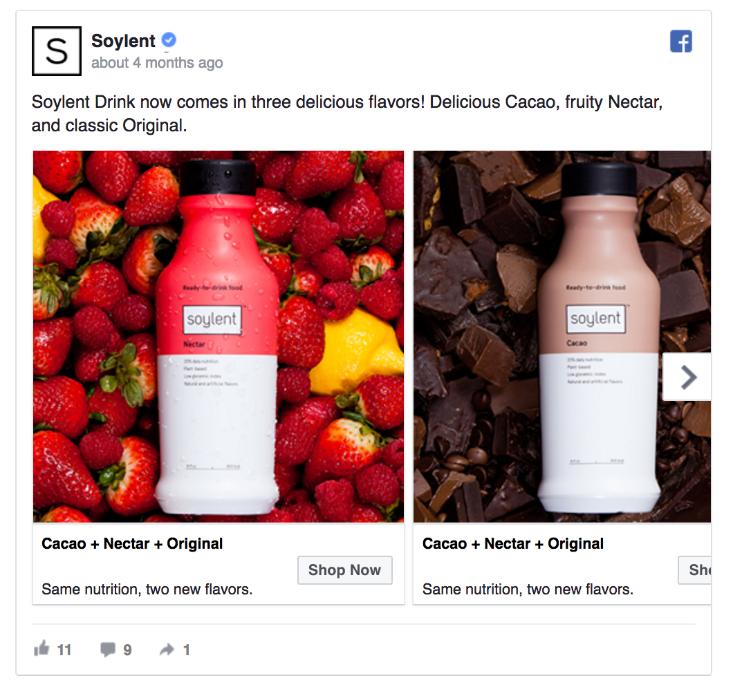Soylent's Facebook ad introduces their products.