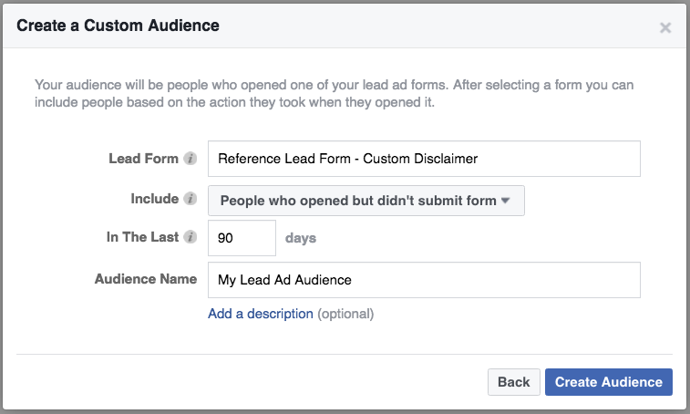 Create Lead Ads engagement-based remarketing audiences.